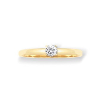 RING SOLITAIRE YELLOW GOLD 18 KT WITH DIAMOND 0.20 CT CRESBER