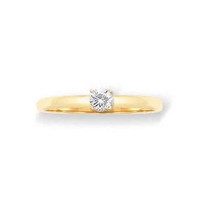 Anillo Solitario de Oro amarillo de 18 Kt, con Diamante de 0,20 ct Cresber