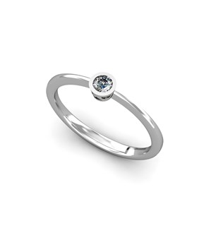 RING SOLITAIRE WHITE GOLD 18 KT WITH DIAMOND OF 0.10 CT CRESBER