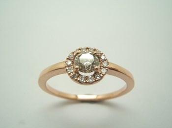 BAGUE SOLITAIRE EN OR ROSE ET DIAMANTS B-79