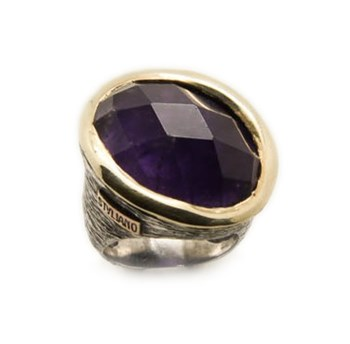 RING STYLIANO SILVER-GOLD AND AMETHYST 008780012