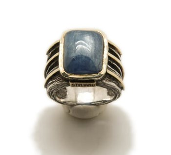 RING SILVER-GOLD AND KYANITE 008780017 STYLIANO