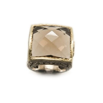 RING STYLIANO SILVER-GOLD AND QUARTZ SMOKE 008780022