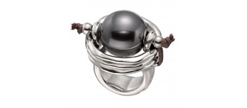 RING ONE OF 50 PEARL GREY ANI0390GRSMTL0L Uno de 50