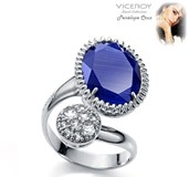 RING VICEROY SILVER RHODIUM-PLATED BLUE GEM 1201A015-43