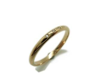 ANILLO Aro boda en oro amarillo y 3 brillantes MCOG3B15 B-79