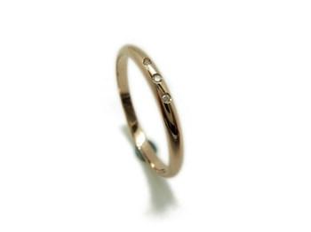Bague de mariage en or rouge et brillant 3 MCOV3B23 B-79