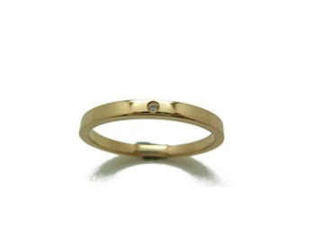 RING ring in yellow gold and shiny rectangular wedding B-79 RTOGB10