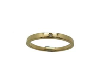 Bague en jaune or et brillant rectangulaire de mariage RTOGB23 B-79