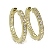 EARRINGS 0.66 CTS OF DIAMONDS, IN YELLOW GOLD 18KTS OF 2.5 MM OF THICKNESS 2.00 CM DIAMETER EXT NEVER SAY NEVER