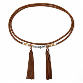 ARTICLES OF GIFT BELT LEATHER BROWN FRINGED WOOD RESIN CT18ATU SILVER OF PALO Plata de palo