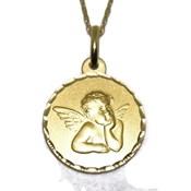 Medalla para bebé de oro amarillo de 18ktes de 1.6cm de diametro y cadena de 40cm Never say never