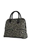 SILVER STICK BLACK LEATHER AND FABRIC BAG STAMPED LETTERS ACC16 Plata de palo