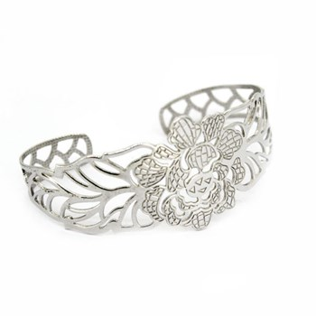 BANGLE SILVER FLORAL 88P2 Stradda
