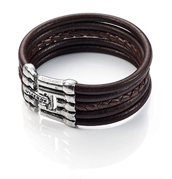 VICEROY CUFF LEATHER AND SILVER PLATED 1007P01011
