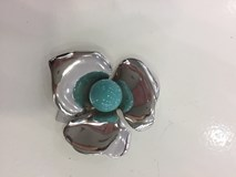SILVER BROOCH FLOWER WITH STONE TYPE TURQUOISE LG 179-50