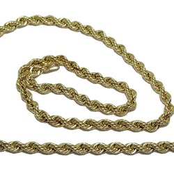 Cadena Cordón salomónico de Oro Amarillo de 18k de 3.5mm de Ancho por 60cm de Largo Never say never