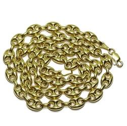 Cadena de calabrote de oro amarillo de 18k maciza con calabrotes de 10x7mm y 50cm de largo Never say never