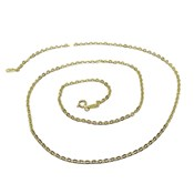 CHAIN OF YELLOW GOLD FOR WOMAN IN 18K MODEL FORCED CHOPPED 50CM LONG AND 2MM WIDE, NEVER SAY NEVER