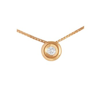 NECKLACE CHAIN LAW 18 K GOLD PINK WITH DIAMOND PENDANT BRILLIANT CUT 495374 Karammelo