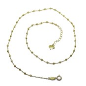 CHAIN FOR WOMEN 18K YELLOW GOLD WITH CHAIN FORCED BALLS AND GOLD GLITTER 2MM. 40CM NEVER SAY NEVER