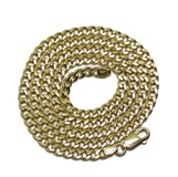 CHAIN FOR WOMEN YELLOW GOLD OF 18K MODEL DIAMOND FLAT 4MM WIDE AND 50CM NEVER SAY NEVER