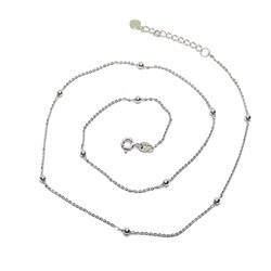 Cadena para Mujer de Oro Blanco de 18k con Cadena Forzada picada y 10 Bolas de Oro Brillo Never say never