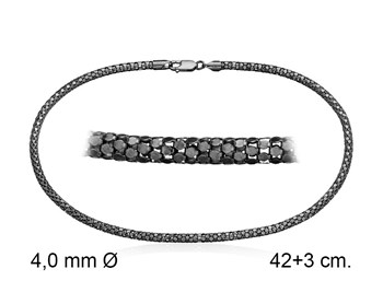 CHAIN 45 CM LONG BLACK K501TN45O STERLING SILVER Marina Garcia