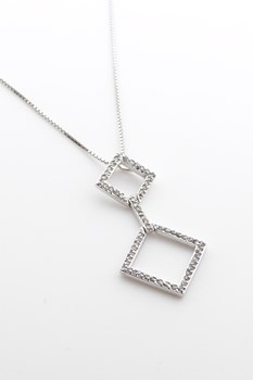 Pendant and silver rhodium-plated chain