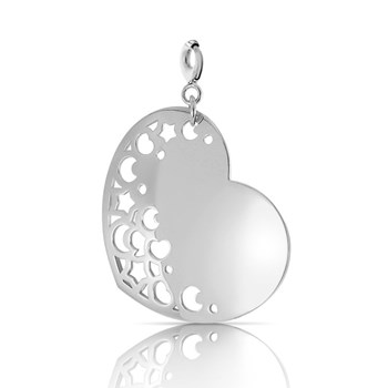 Silver with silver 0054C Heart Charm NECKLACE Pasquale Bruni