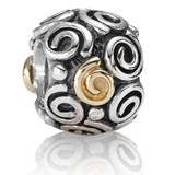 BEADING CHARM STERLING SILVER WITH GOLD 790414 Pandora