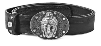 BELT BLACK BAT WITH BUDDHA CT11T90 SILVER Plata de palo