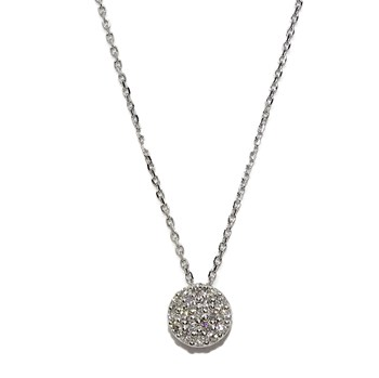 CL�SICO PENDANT FOR WOMAN IN 18K WHITE GOLD WITH 0.15 CTS OF DIAMONDS, 7MM NEVER SAY NEVER