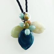 HANGING BUMBLEBEE AMAZONITE AND BLUE AGATE C246 PATRICIA GARCIA