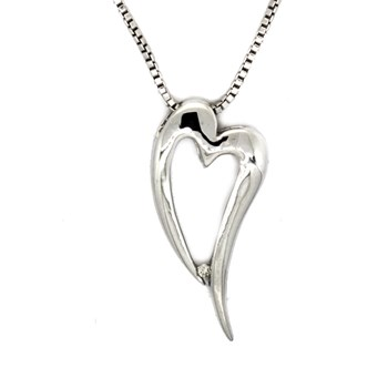 Colgante Corazón Plata y Brillante  585DP088  Hot Diamonds