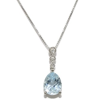 PENDANT WITH BRILLIANT-CUT DIAMONDS OF 0.07 CTS AND 1 BLUE TOPAZ 1.94 CTS MOUNTED IN WHITE GOLD, NEVER SAY NEVER