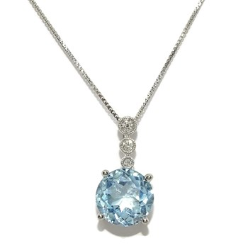 PENDANT AND DIAMONDS IN 18K WHITE GOLD WITH 0.07 CTS OF BRILLIANT AND 1TOPACIO OF 3.56 CTS WITH CHAIN NEVER SAY NEVER