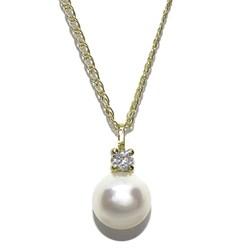 Colgante de Oro Amarillo de 18k con Perla cultivada botón de 10mm y circonita con Cadena de Oro  Never say never