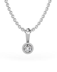 Colgante de Oro blanco con Diamante de 0,10 quilates. Cadena de plata de regalo. Cresber