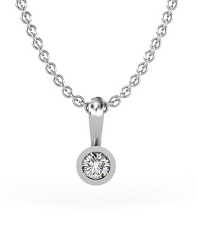 PENDANT WHITE GOLD WITH DIAMOND OF 0.10 CARATS. SILVER CHAIN GIFT. CRESBER