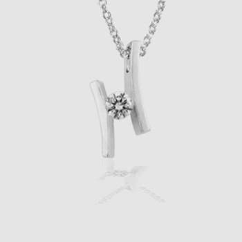 PENDANT WHITE GOLD WITH DIAMOND 0.20 CT. SILVER CHAIN GIFT. CRESBER