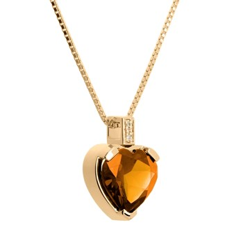 BEADED GOLD PENDANT, CITRINE AND DIAMONDS. CNP-0281 / 246 Oreage CNP-0281/246
