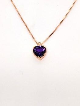 Pendentif en or, améthyste et diamant rose. CNP-0281/227 Oreage