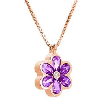 PENDANT IN PINK GOLD WITH AMETHYST AND DIAMOND. CNP-0074/114 OREAGE