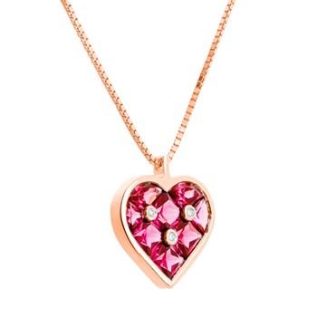 Or rose avec le grenat de rhodolite et pendentif diamant. CNP-0156/177 Oreage
