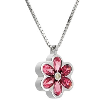 PENDANT IN SILVER WITH RHODOLITE GARNET AND DIAMOND. CNP-0074/123 Oreage