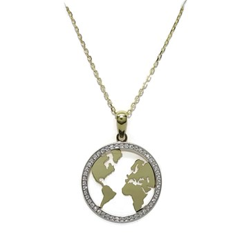PENDANT WORLD OF 2.00 CM IN DIAMETER IN GOLD TWO-TONE 18K WITH ZIRCONS AND CHAIN FORCED 45 NEVER SAY NEVER