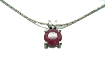 PENDANT IN WHITE GOLD AND RUBY B-79 C-174