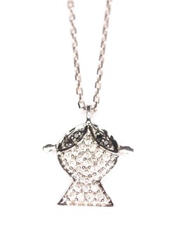 Pendant white gold and shiny black-and-white 0065 pave girl Crivelli