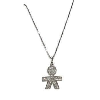 PENDANT OR�OR WHITE GOLD 18K WITH ZIRCONS OF THE HIGHEST QUALITY AND STRING VENETIAN 40CM NEVER SAY NEVER